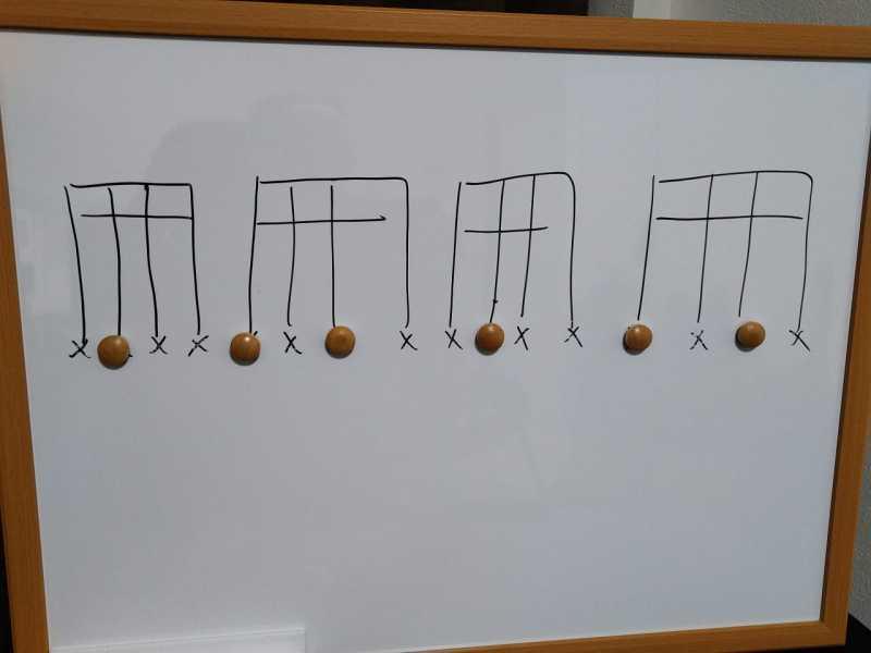 16分音符を基本とした付点八分音符のリズムパターンのカッティングフレーズ7