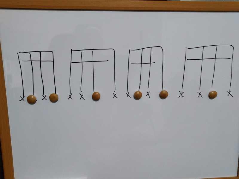 16分音符を基本とした付点八分音符のリズムパターンのカッティングフレーズ4