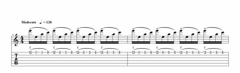 ギターのタッピング奏法の練習フレーズ