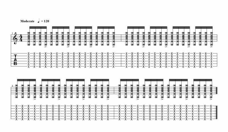 16分音符を基本とした四分音符ごとにアクセントをつけるリズムパターン4つ目