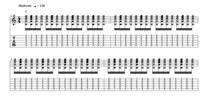 練習フレーズ1:16分音符を基本とした4分音符のごとに音を鳴らすリズムパターンの16分音符の二つ目の音を鳴らす