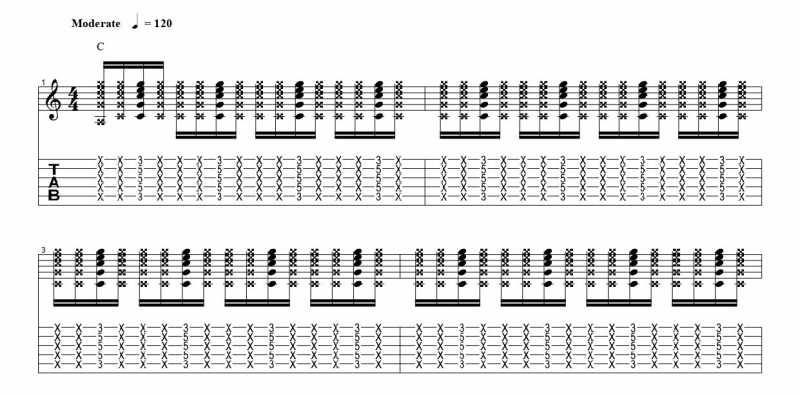 練習フレーズ1:16分音符を基本とした4分音符のごとに音を鳴らすリズムパターンの16分音符の三つ目の音を鳴らす