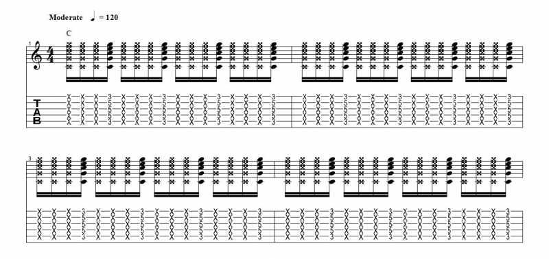 練習フレーズ1:16分音符を基本とした4分音符のごとに音を鳴らすリズムパターンの16分音符の四つ目の音を鳴らす