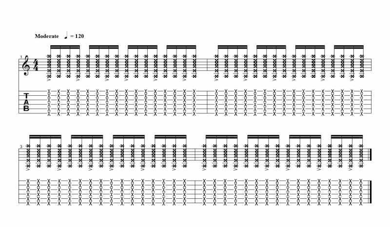 練習フレーズ2:16分音符を基本とした付点八分音符ごとにアクセントをつけるリズムパターン1つ目