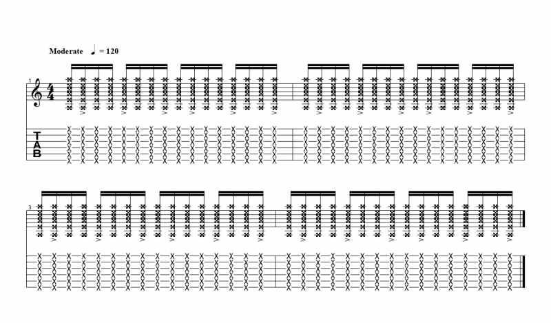 練習フレーズ2:16分音符を基本とした付点八分音符ごとにアクセントをつけるリズムパターン2つ目