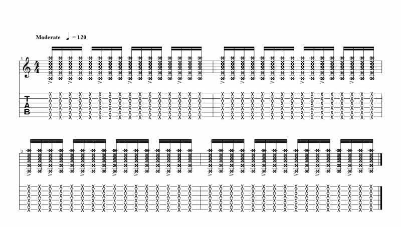 練習フレーズ2:16分音符を基本とした付点八分音符ごとにアクセントをつけるリズムパターン3つ目