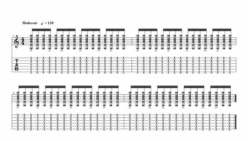 練習フレーズ2:16分音符を基本とした付点八分音符ごとにアクセントをつけるリズムパターン6つ目
