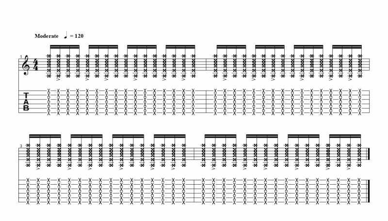 練習フレーズ2:16分音符を基本とした付点八分音符ごとにアクセントをつけるリズムパターン7つ目