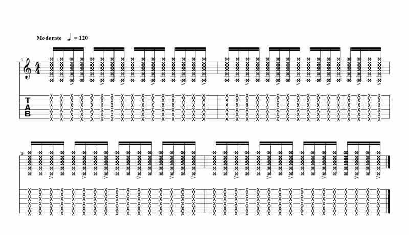 練習フレーズ2:16分音符を基本とした付点八分音符ごとにアクセントをつけるリズムパターン8つ目