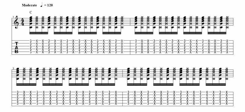 練習フレーズ2:16分音符を基本とした付点八分音符のリズムパターン