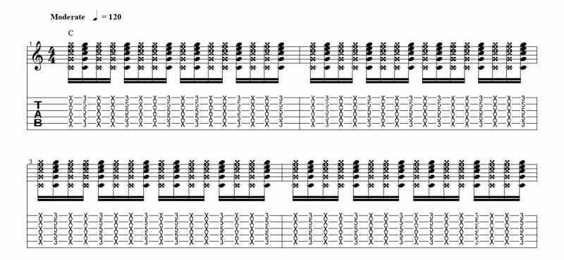 練習フレーズ2:16分音符を基本とした付点八分音符のリズムパターンを1音ずらす