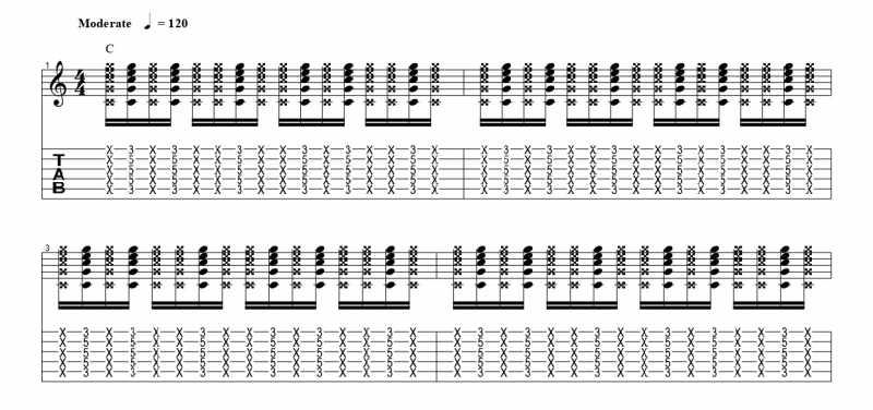 練習フレーズ2:16分音符を基本とした付点八分音符のリズムパターンを3音ずらす