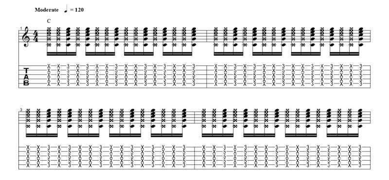 練習フレーズ2:16分音符を基本とした付点八分音符のリズムパターンを4音ずらす