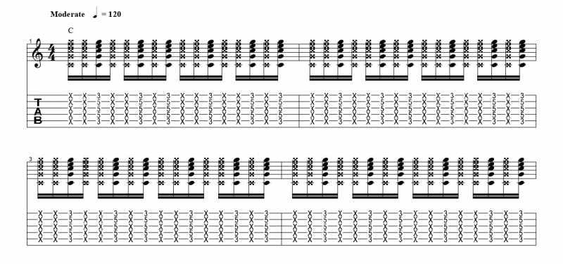 練習フレーズ2:16分音符を基本とした付点八分音符のリズムパターンを7音ずらす