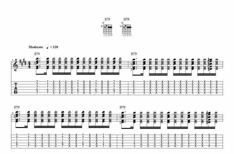 練習フレーズ3:ファンキーなコードカッティングパターン