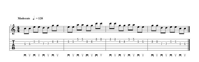 練習フレーズ4:弦移動がある異弦同フレットのオルタネイトピッキングのフレーズ