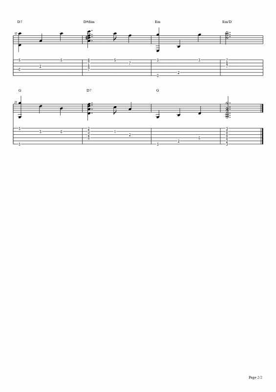 きよしこの夜-Silent Night-のTAB譜(ソロギター)2ページ目