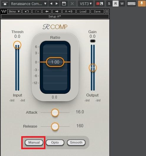 Waves Renaissance CompressorのARC(オートリリースコントロール)/Manual(マニュアル)