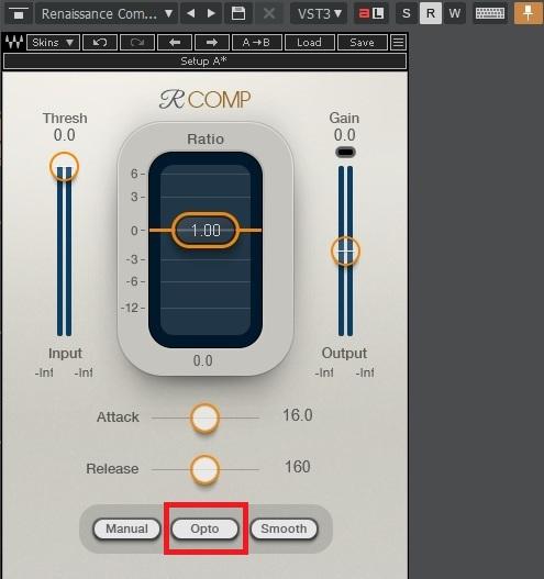 Waves Renaissance CompressorのElectro(エレクトロ)/Opto(オプト)