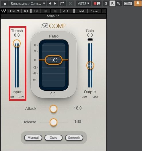 Waves Renaissance CompressorのThresh(スレッショルド)/Input(インプット)