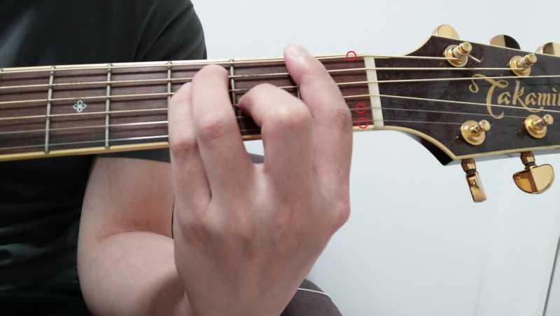 ギターのバレーコード(セーハコード)を押さえる時は鳴らす弦に集中する