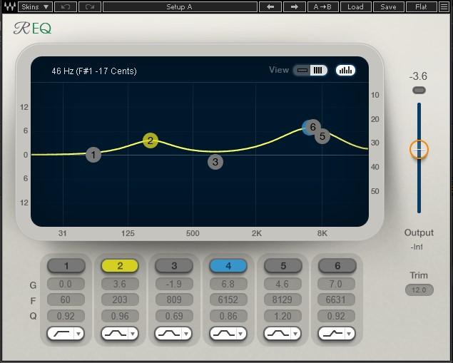 周波数をマスキングするためのドンシャリ型イコライジング