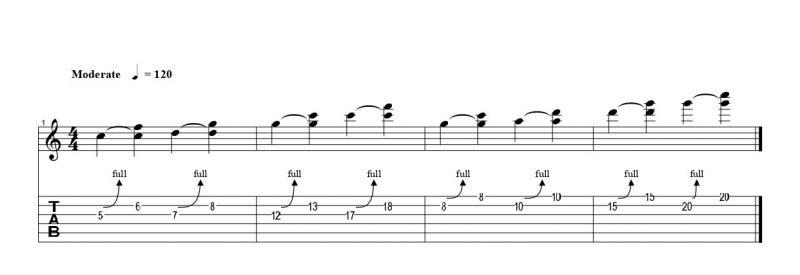 練習フレーズ1:基本的なハーモナイズドチョーキングのパターン