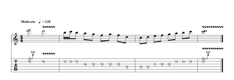 練習フレーズ2:ユニゾンチョーキングから始まるギターソロ