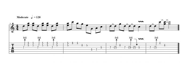 ギターのハーモナイズドチョーキングの練習フレーズ