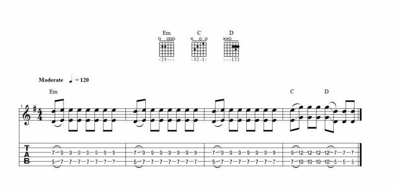 練習フレーズ3:オクターブ奏法を使ったスライド