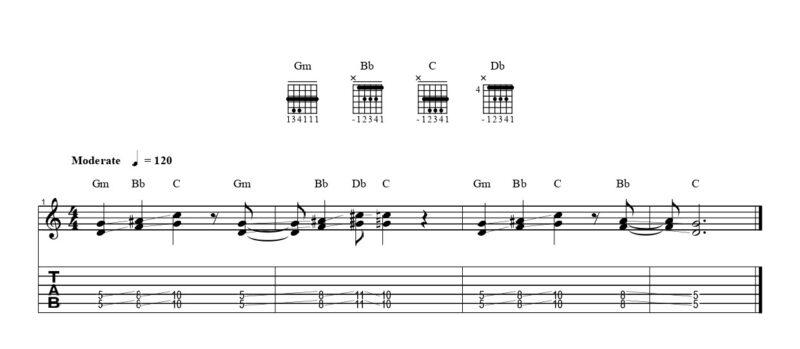 練習フレーズ1:ボトルネック奏法の基本をマスターする