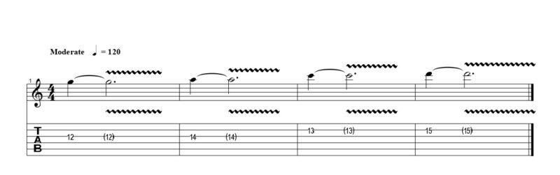 練習フレーズ1:基本的なビブラートをどの指でもかけられるようにする