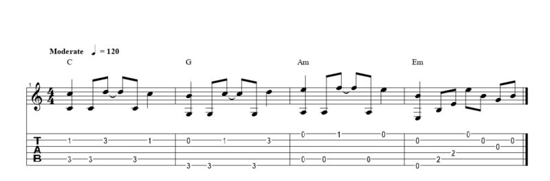 練習フレーズ1:ハイブリッドピッキングでアルペジオにメロディーを奏でる