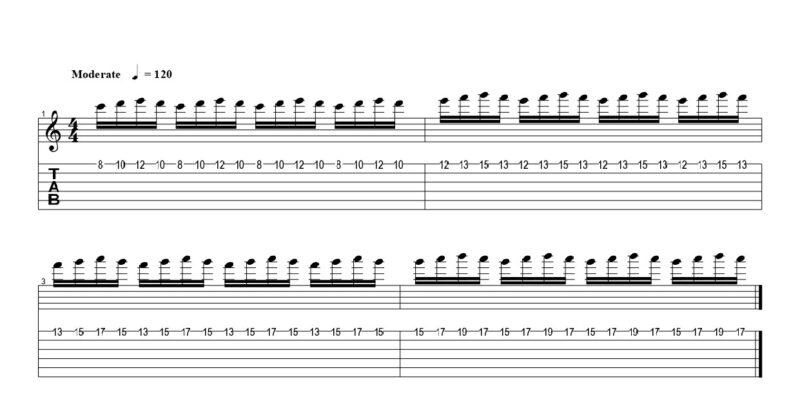練習フレーズ1:1弦を16分音符をフルピッキングで弾く