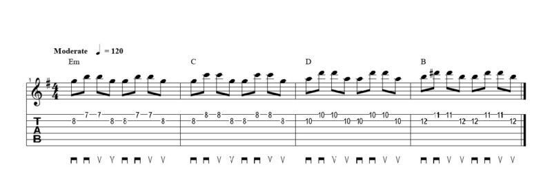 練習フレーズ1:2弦スィープで基本的な動作に慣れる