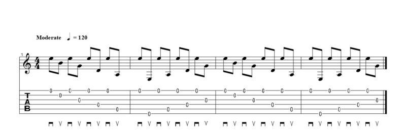 練習フレーズ2:上昇する弦飛びフレーズの基礎