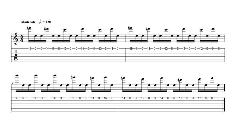 練習フレーズ2:1弦の開放弦を使ったフルピッキング
