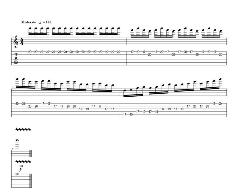 ギターのフルピッキングの練習フレーズ
