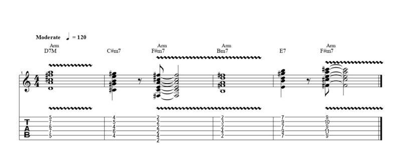 ギターのアーミング奏法の練習フレーズ