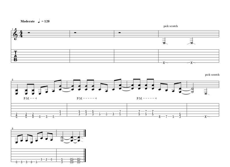 ギターのピックスクラッチの練習フレーズ