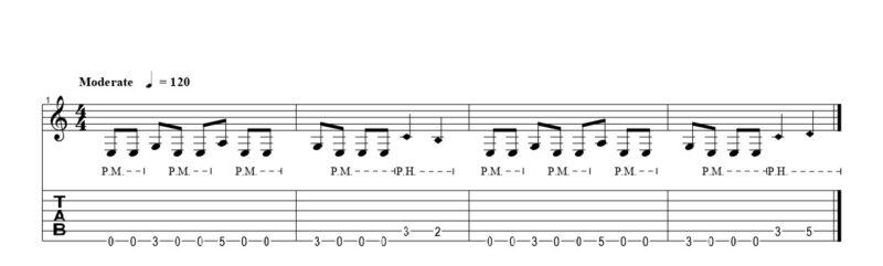 練習フレーズ1:低音弦リフで行うピッキングハーモニクス