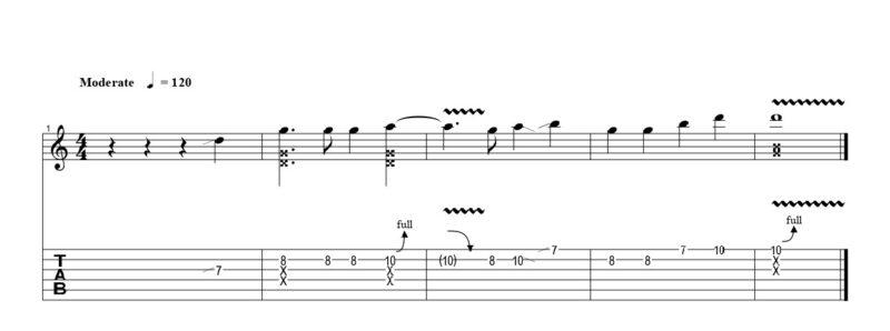 練習フレーズ1:単調なメロディーにチョップ奏法を組み合わせる