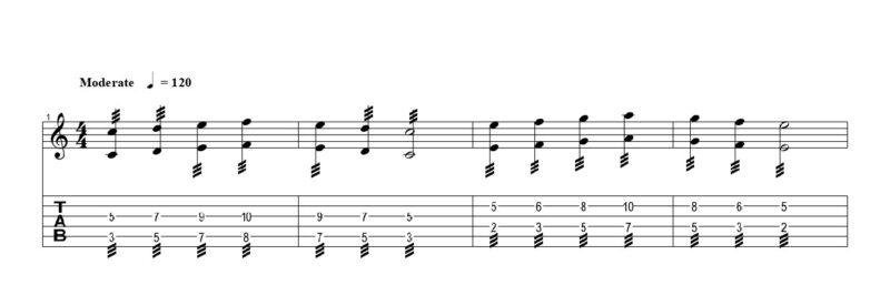 練習フレーズ2:トレモロピッキングで弾くオクターブ奏法