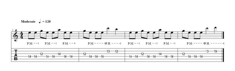 練習フレーズ2:高音弦リフで行うピッキングハーモニクス