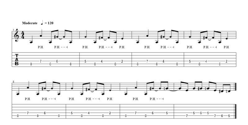 ギターのピッキングハーモニクスの練習フレーズ