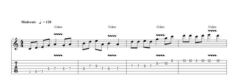 ギターのクリケット奏法の練習フレーズ