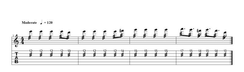練習フレーズ1:ハミングバード奏法の定番フレーズ