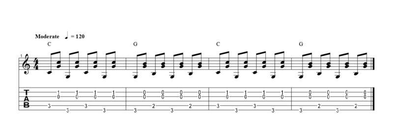 練習フレーズ3:裏拍で和音を奏でる